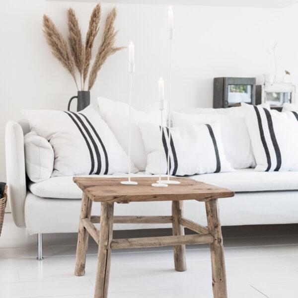 Jet at Home - Olsson en Jensen - linnen kussenhoes Marseille wit-zwarte streep 60x60 cm